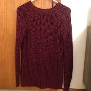 burgundy knit sweater from AE